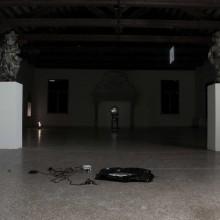 """Naomi Rincón Gallardo. Rests of private performance. Jean Hérard Celeur, """"Ezili Dantò"""" and """"Atann pou delivèrans"""", 2010,  wood, metal, tyres, nails"""