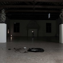 "Naomi Rincón Gallardo. Rests of private performance. Jean Hérard Celeur, ""Ezili Dantò"" and ""Atann pou delivèrans"", 2010, wood, metal, tyres, nails"