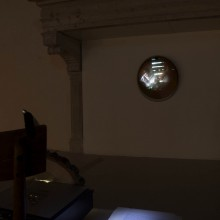 Gabriel Rossell Santillán, La Nascita del Sole, 2009, Video projection, satellite dish, chair, wood. 2' 36''