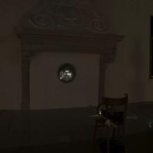 Gabriel Rossell Santillán, La Nascita del Sole, 2009,  Video projection, satellite dish, chair, wood. 2' 36''