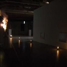 Entrance_Gabriel Rossell Santillán, La fuga in Egitto, 2009, kettle, steam-image, 23' (loop). Nico Vascellari, Untitled, 2008, Aluminum, wax, fire, variable dim.