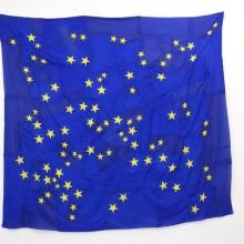 Serena Vestrucci, Strappo alla regola (Bending the rules), European flag canvas, cotton thread, three months, 230 x 210 cm, 2013.